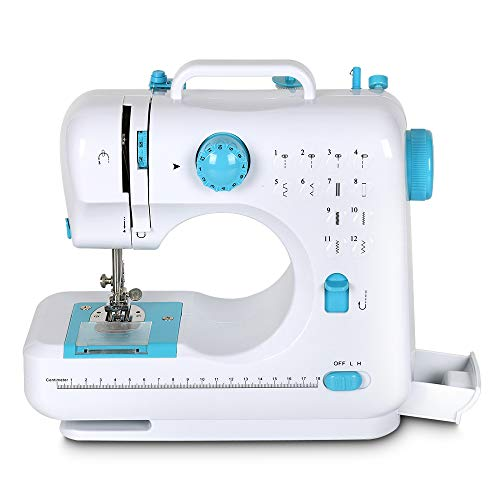 Sewing Machine, Portable Mini Multi-Purpose Crafting Mending Machine Household 12 Built-in Stitches & Double Thread for Beginners Blue