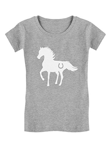 Tstars - Gift for Horse Lover - Love Horses Girls' Fitted Kids T-Shirt XL (11-12) Gray