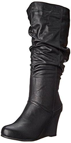 Brinley Co Women's Star Slouch Boot Regular & Wide Calf Black Wide