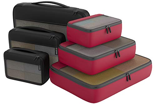 Packing Cubes Organizer Bags For Travel Accessories Packing Cube Compression 6 Set For Luggage Suitcase (Black Red)