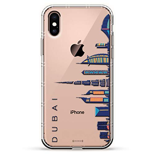 Dubai Skyline | Luxendary Air Series Clear Silicone Case with 3D Printed Design and Air-Pocket Cushion Bumper for iPhone X/Xs