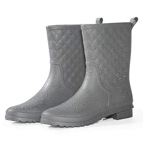 Petrass Women Rain Boots Black Waterproof Mid Calf Lightweight Cute Booties Fashion Out Work Comfortable Garden Shoes
