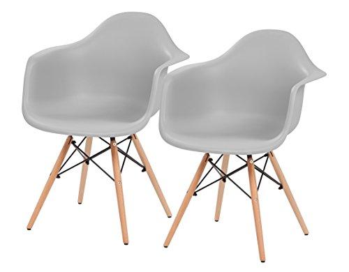 Iris Accent - IRIS Mid-Century Modern Shell Armchair with Wood Eiffel Legs, 2 Pack, Cloud Gray