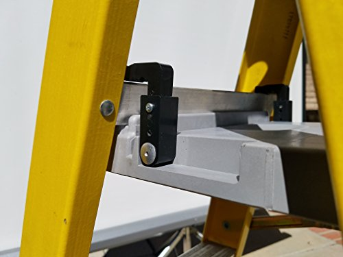 Ladder Shelf Systems -Heavy Duty -Multifunctional -Time saving - Professional Grade molded plastic pail shelf - attaches to most Warner, Louisville, and Keller brand single sided A-frame step ladders by Ladder Shelf Systems (Image #4)