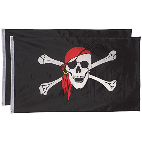 (Juvale Pirate Flags - Pack of 2 Jolly Roger Pirate Flags - Skull and Crossbones with Red Bandana - Perfect for Pirate Parties - 3 x 5 Foot Flags with Grommets)