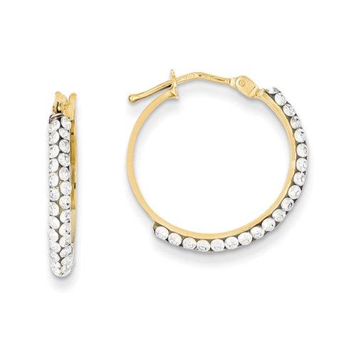 3 x 20mm Round Hoop Earrings in 14k Yellow Gold Swarovski Crystals (Crystal Yellow 14k Swarovski Gold)