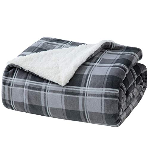 Bedsure Sherpa Plaid Throw Blanket for Sofa, Couch and Bed - Soft & Cozy - Tartan Plaid Fleece Blanket for Outdoor, Indoor, Camping, Gifts - Grey, 50x60 inches