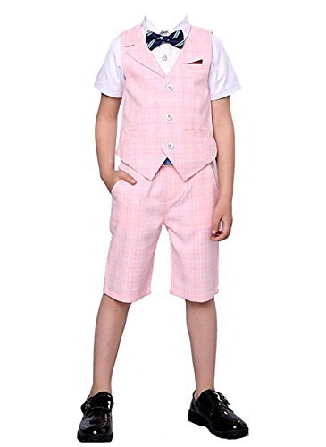 HZMY Boy Summer Leisure Suit 2 Pieces,Vest and Pants (4T, Pink) by HZMY