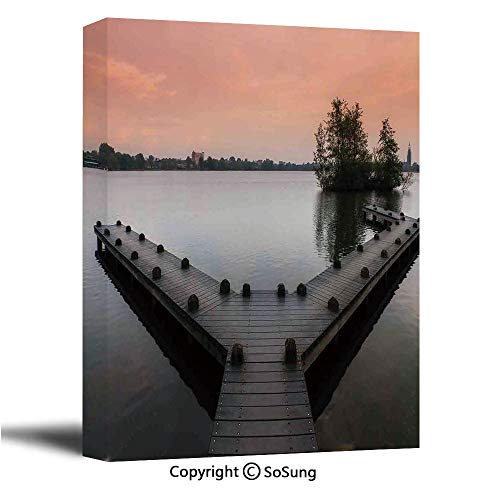 Forest Canvas Wall Art,Jetty at The Lake in The Amsterdam Forest in Spring Season Serene at Sunset Image,Modern Living Room Office Wall Art Bedroom Decoration Ready to Hang,24x36 inch
