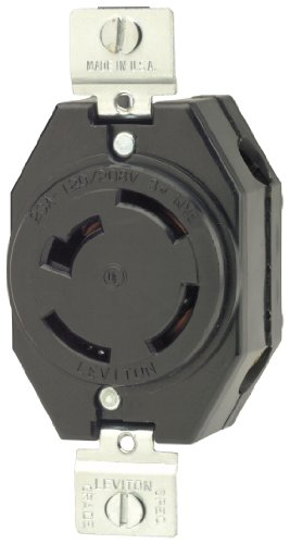 Non Nema Locking Flush Receptacle - Leviton 7410-B 20 Amp, 120/208 Volt- 3PY, Flush Mounting Locking Receptacle, Industrial Grade, Non-Grounding, Black