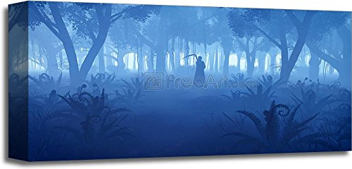 Misty Night Forest With Grim Reaper Silhouette Gallery Wrapped Canvas Art (10in. x 20in.) (Halloween Fright Nights Logo)