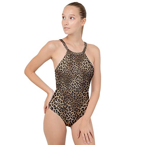 VunKo Leopard Print One Piece Swimsuit High Neck Backless Monokini Swimwear Bathing Suit for Women Small ()