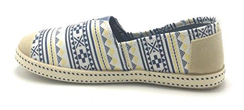 Zapatillas Resbalar en Multi Loafers Zapatos Plimsoll Mujer arranque Flats F2283 Mocasín de Color Blue Ballet la De xwgCqvwY