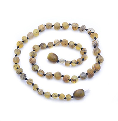 Light Amber Stone (Genuine Amber - Baby Unisex Teething Necklace - 11.8 Inches - Light Green - 100% Natural Baltic Amber Raw Not Polished Amber Beads - Natural Pain Relief - Knotted Between Beads - Plastic Screw Clasp)