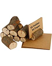 40Pcs Place Card Holder Rustic Real Wood with Wooden Bark Table Card Holder Number Photo Stand Place Name Memo Card Holder for Wedding Party (20 Holders+20 Kraft Table Place Cards)