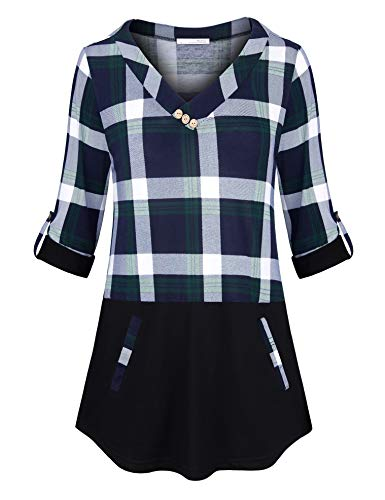 Messic Loose Fitting Tops for Women, Ladies Cross V-Neck Gingham Top Lightweight Baggy Contrast Plaid Knitting Tunic Shirt 3 4 Cuff Sleeve Blouse Casual Wear with Pocket Green Blue XXL