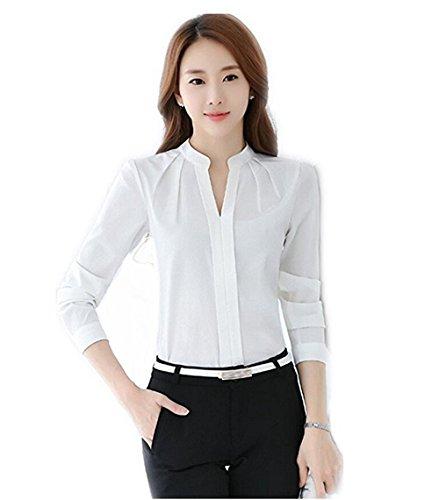 53f199a723ab5 No brand Women V-Neck Long Sleeve Sheer Chiffon Shirt Blouse Tops Elegant  Solid Casual Shirts - Buy Online in Oman.