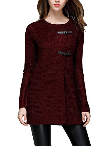 Buckle Front Jacket (Futurino Women's Crewneck Buckle Front Knitted Cardigan Sweater Jacket Coat)