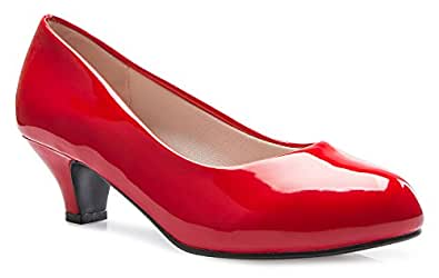 Olivia K Womens Classic Closed Toe Kitten Heel Pumps | Dress, Work, Party Low Heeled,Red Patent,6 B(M) US