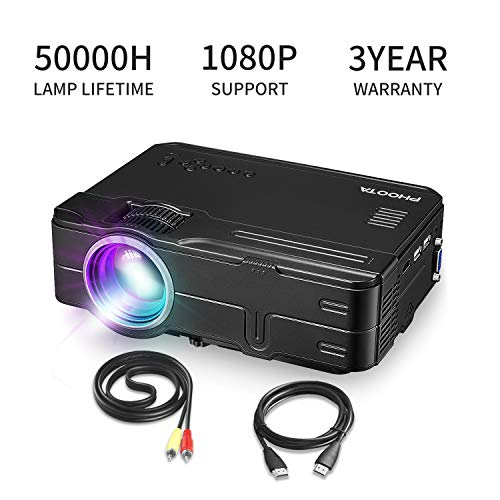 PHOOTA Mini Projector, 2019 Upgraded Portable LED Video Projector with 50,000 Hrs LED Lamp Life, 2400 Lux Full HD 1080P and 170 Display Supported, Compatible with HDMI, VGA, USB, AV, Laptop
