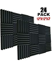 """24 Pack Acoustic Foam Panels 2"""" X 12"""" X 12"""" Soundproofing Studio Foam Wedge Tiles Fireproof - Top Quality - Ideal for Home & Studio Sound Insulation (24PCS, Black)"""