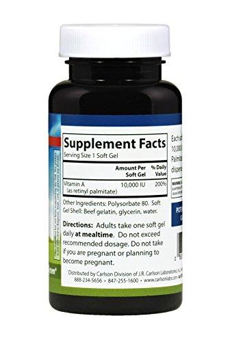 Carlson Vitamin A Solubilized as Retinyl Palmitate 10,000 IU, 250 Soft Gels by Carlson (Image #2)