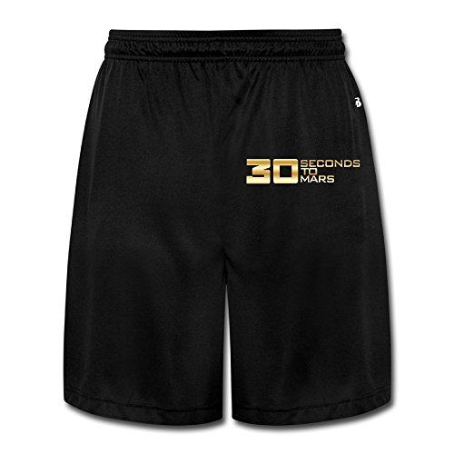 Men's 30STM 30 Seconds To Mars Ba Gold Logo Running Pants Shorts Black
