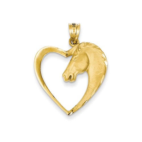 14k Yellow Gold Horse Head and Heart Pendant, (14k Horse Head)