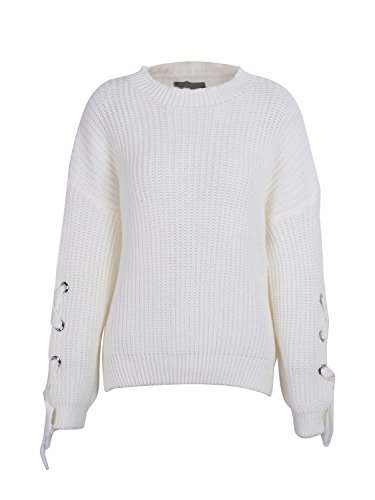 Simplee Women Casual Loose Crew Neck Long Sleeve Lace Up Pullover Sweater White