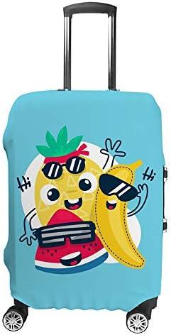 スーツケースカバー トラベルケース 荷物カバー 弾性素材 傷を防ぐ ほこりや汚れを防ぐ 個性 出張 男性と女性かわいい漫画の果物