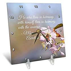 3dRose Alexis Design - Quotes Inspirational - Marcus Aurelius Quote. He who Lives in Harmony with Himself - 6x6 Desk Clock (dc_290888_1)