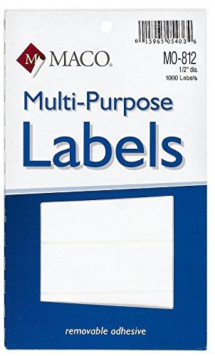 MACO White Oval Multi-Purpose Labels, 1/2 x 3/4 Inches, 1000 Per Box (MO-812)