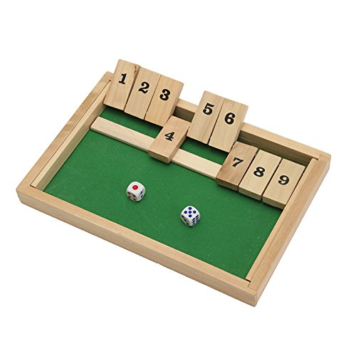 Wooden Box Traditional Pub Board Dice Mathematic Game for Family Kids Children