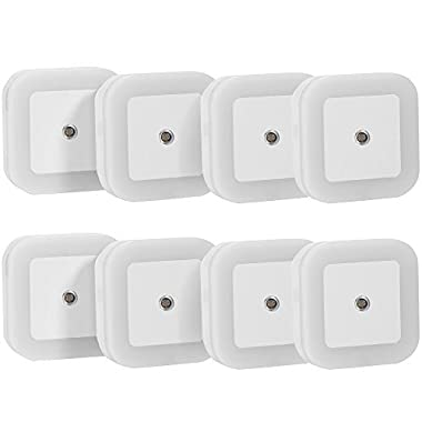 SOAIY Plug-in LED Night Light with Smart On / Off Sensor, White (6500K), Pack of 8
