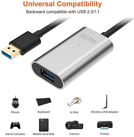 USB 3.0 Extender, WEme USB Extension Cable with Aluminum Alloy Housing, Type A Male to Female Cord for Oculus Rift, VR Headset, HTC Vive, Xbox, USB Peripheral Devices, 5 Meters 16.4 Feets