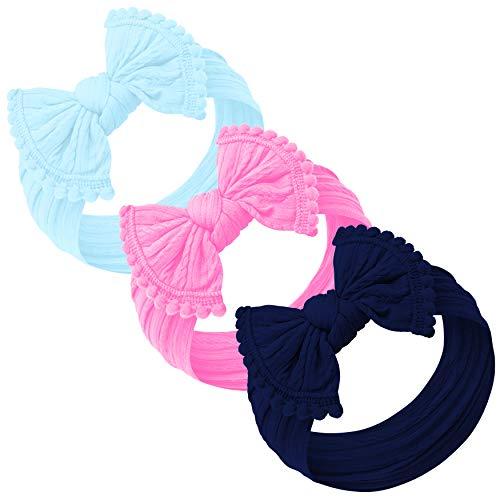 Baby Girl Headbands and bows - Nylon Headband Fits newborn toddler infant girls pom pom (Aqua - Barbie Pink - Navy) ()