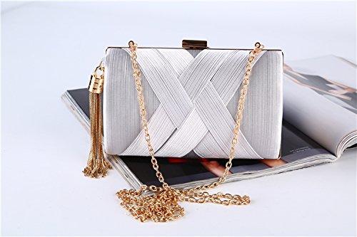 sac sac femmes pochette soirée bal soirée silver mariage une le pour crossbody sac de les le bourse tassel partie élégant wSxqUFIqn1