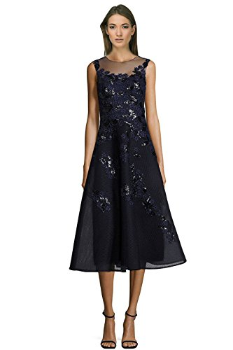 Teri Jon Sequined Floral Applique Illusion Neck Cocktail Dress