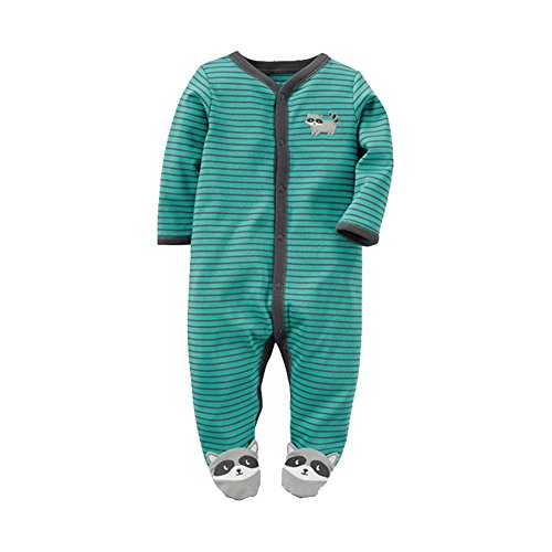 Baby Boys One-Piece Footie Rompers Coveralls Rompers Cotton Jumpsuit Day Suit Raccoon Green Stripes Size (Are Those Christmas Jammies)