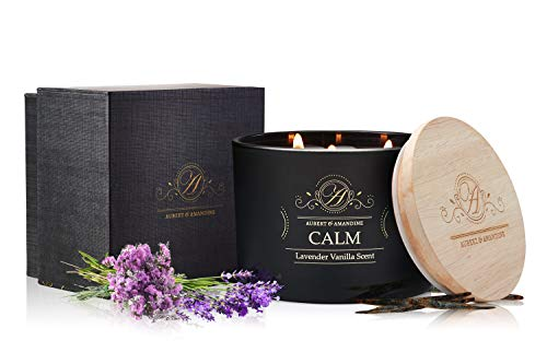 Aubert & Amandine Calm Lavender Vanilla Luxury Scented 3 Wick Soy Candle for Stress Relief & Relaxation High Intensity Aromatherapy - Lavender Vanilla Candles
