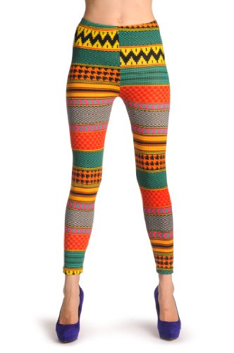 Woven Bright Green, Yellow & Orange Aztec - Multicolore Leggings Taille Unique (32-38)