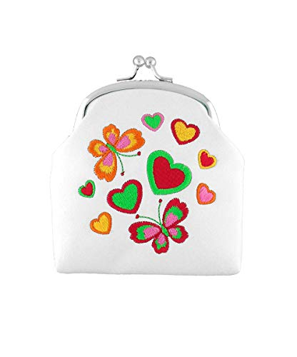 LAVISHY Embroidered Butterfly & Heart Vegan/Faux Leather Kiss Lock Frame Coin Purse