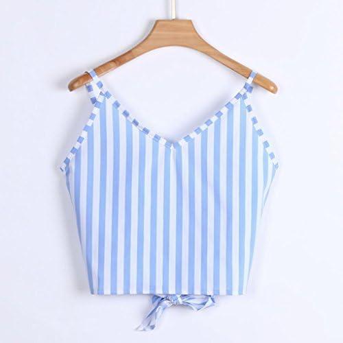 ESAILQ Damen L/ässige V-Ausschnitt Knopf Satt Tie Front Crop Cami Tops Camisole Hemd Weste