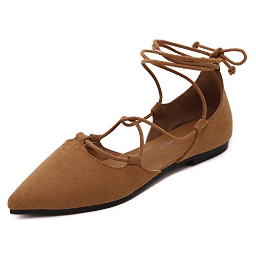 Meeshine Womens D'Orsay Pointy Toe Ankle Strap Wrap Ballet Flats Lace up Flat Shoes Brown US 8 (Pointy Brown Toe)