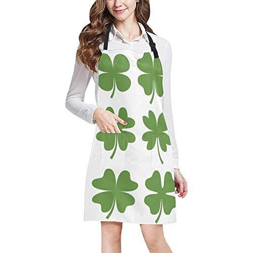 - MOVTBA Durable Green Plant Lucky Petals Clover Pattern Nature All Over Print Apron with an Adjustable Neck&Two Spacious Front Pocketst Unisex Kitchen Home Restaurant Apron for Cooking Baking