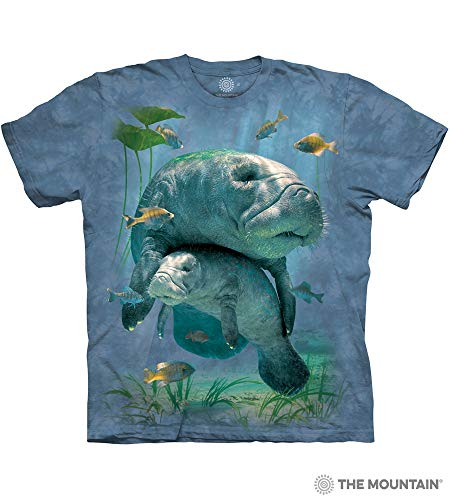 The Mountain Manatees Collage Adult T-Shirt, Blue, 2XL