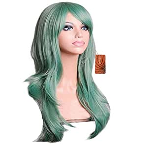 Enilecor 28 Inch 70cm Long Cospaly Wigs Curly Full Wig Universal Big Wavy Women Heat Resistant Spiral Hair Wig for Halloween, Christmas Custom Cosplay Wig (Green)