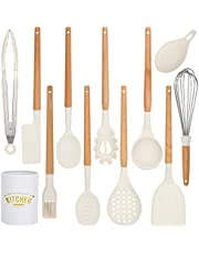 Cooking Kitchen Utensils Set 12pcs - Nonstick and Heat Resistant Cooking Utensils Set - Wooden Handle Kitchen Tools for Kitchen Utensils and Gadgets - Silicone Kitchen Utensil Set with Holder