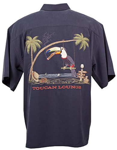 Toucan Lounge - Men's Embroidered Hawaiian Shirt - in Navy - Large