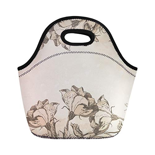 Semtomn Lunch Tote Bag French Floral Border in Vintage Old Engraving Flowers Antique Reusable Neoprene Insulated Thermal Outdoor Picnic Lunchbox for Men Women